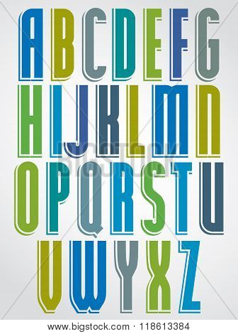 Colorful Font, Upper Case Letters With White Outline.