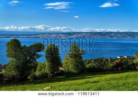 Mountain landscape at Lake Geneva