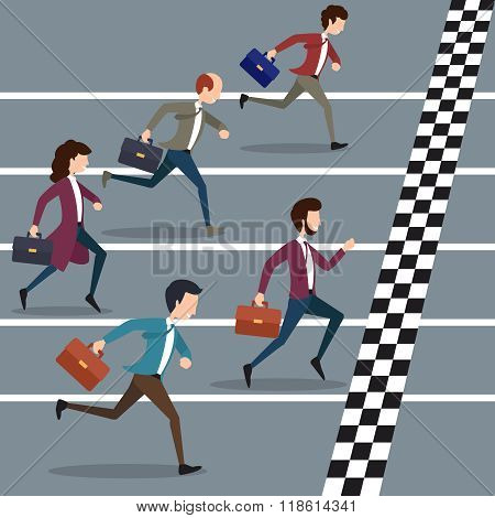 Business people winning marathon