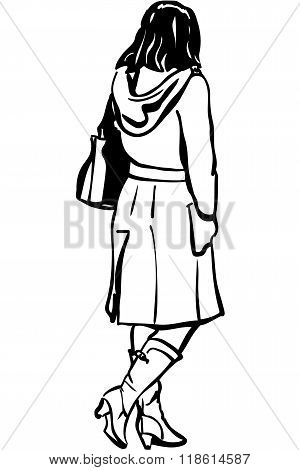 Vector Sketch Of A Girl In A Coat With A Hood Back To Us