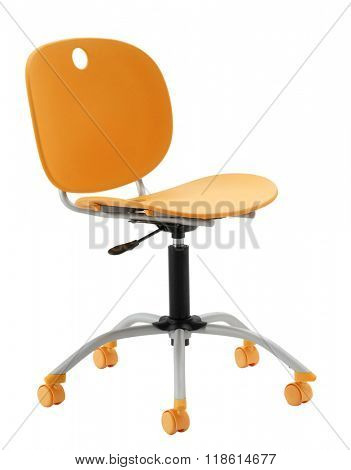ORANGE OFFICE CHAIR ISOLATED ON WHITE
