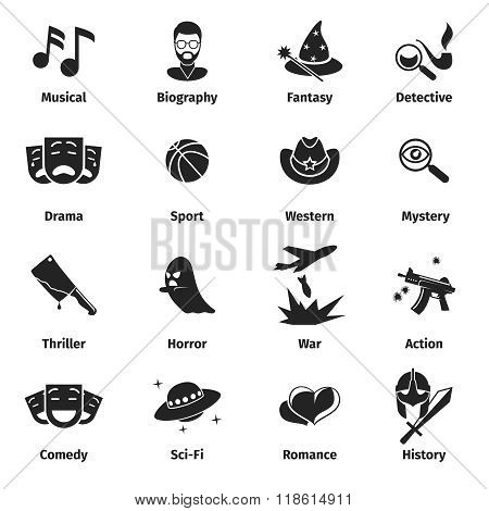 Movie genres vector icons