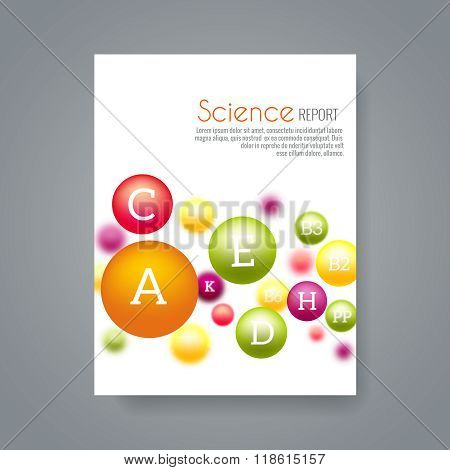 Science or medical brochure cover template with vitamins vector