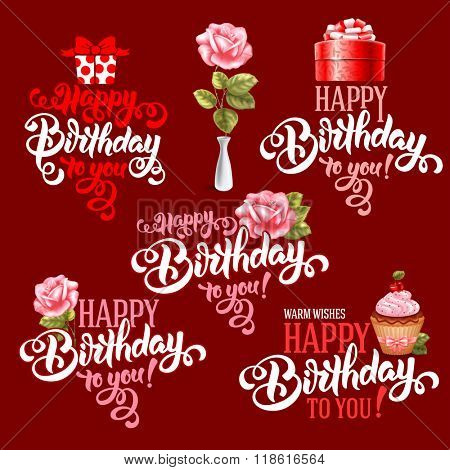 Typographic Happy Birthday Themed Calligraphic Overlays Design Vector Set. Isolated on dark background.