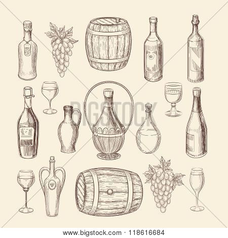 Hand drawn vineyard sketch and doodle wine vector elements