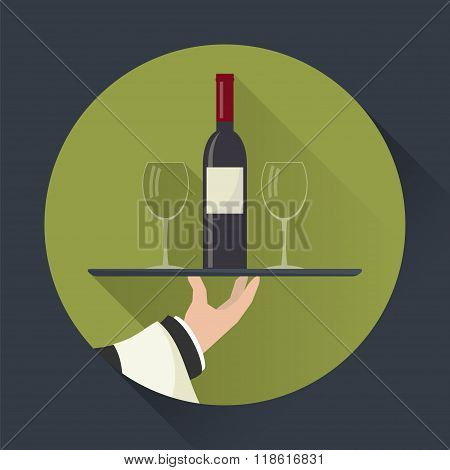 Waiter With Wine Bottle And Wineglasses On Tray.