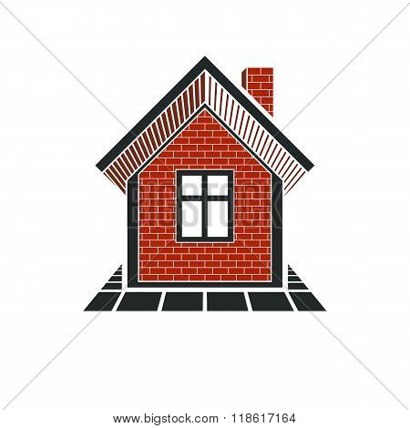 Simple House Icon For Graphic Design, Mansion Conceptual Symbol, Vector Property Image. Real Estate