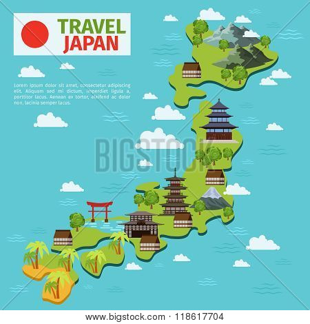 Japan travel vector map with traditional japanese landmarks