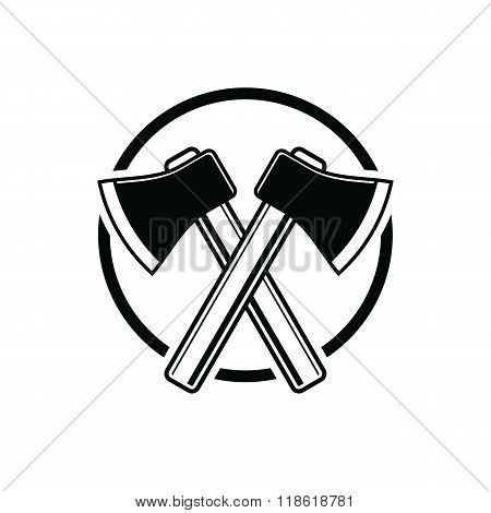 Two Sharp Axes Crossed. Woodcutter Tool, Vector Simple Hatchet Symbol Isolated On White. Lumberjack