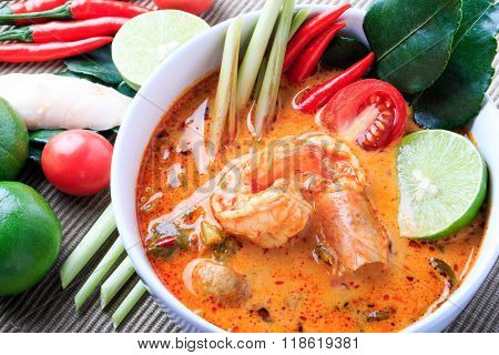Thai Prawn Soup with Lemongrass (Tom Yum Goong) On White Background.