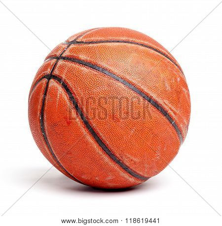 Old And Seasoned Basketball Isolated On White