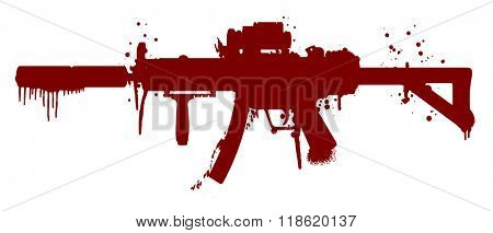 illustration of a machine gun with blood splatter, eps10 vector