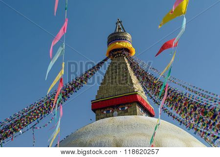 Stupa in Boudhanath Stupa (Bodnath Stupa) temple in Kathmandu Nepal. The largest stupa in Nepal.