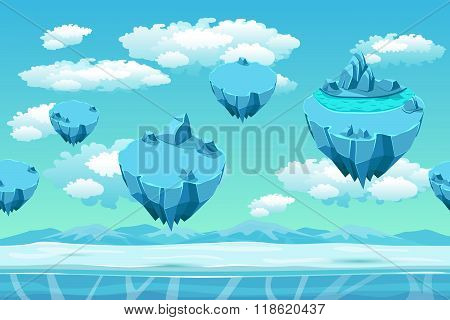 Ice and snow with the ice islands. Seamless game landscape. Cartoon background for games