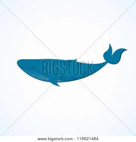 Big blue whale, vector illustration