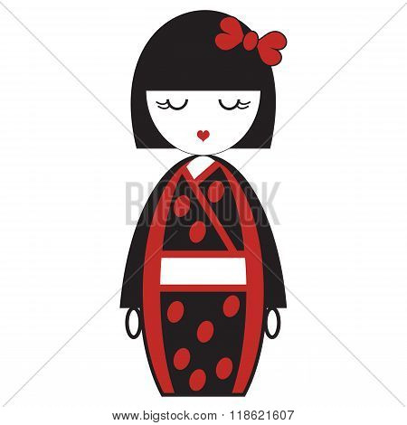 Oriental Japanese geisha  doll with kimono with oriental accessories and bow hair element inspired b
