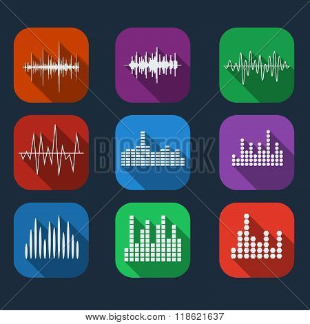 Sound Wave Icon Set Color Flat Style. Music Soundwave Icons Set. Equalize Audio And Stereo Sound, Wa