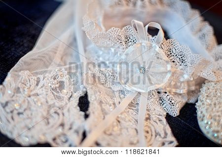 Beautiful Veil And Garter Of Bride For Wedding Day