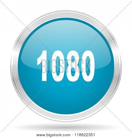 1080 blue glossy metallic circle modern web icon on white background