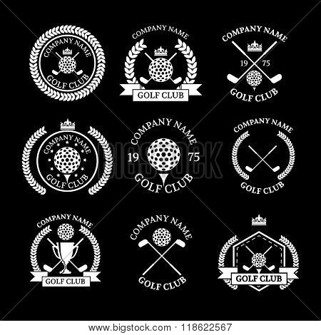 Golf club logos set of templates.Vector logotype design. White Golf club logo color on green backgro