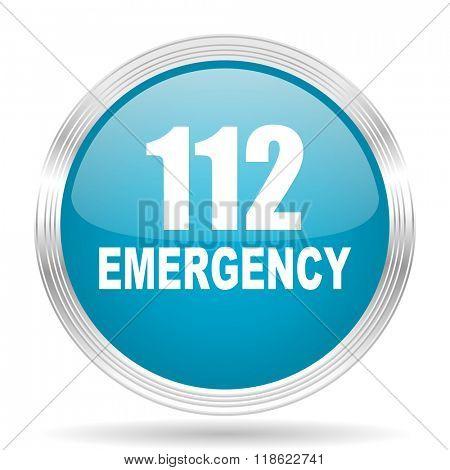 number emergency 112 blue glossy metallic circle modern web icon on white background
