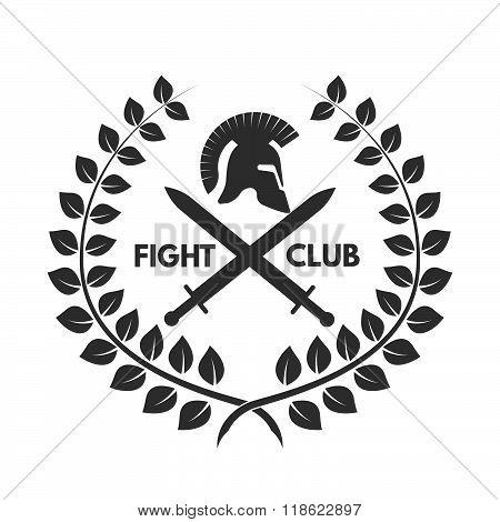 Fight club logo. Roman or Greek helmet