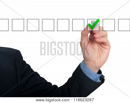 Businessman Checking Mark Checklist Marker Isolated On White Background
