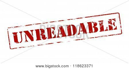 Rubber stamp with word unreadable inside vector illustration