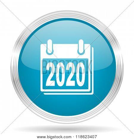 new year 2020 blue glossy metallic circle modern web icon on white background