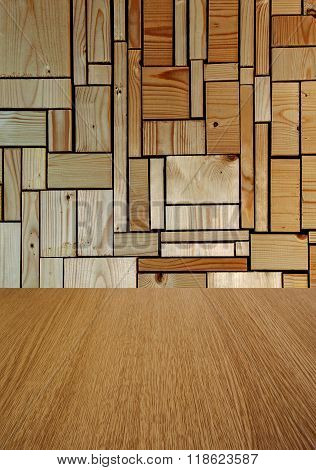 Business background or backdrop for products, design or text space, in natural pine and wood