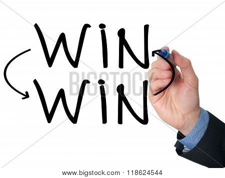 Businessman Hand Drawing Win Win Situation Concept With Marker On Transparent Wipe Board