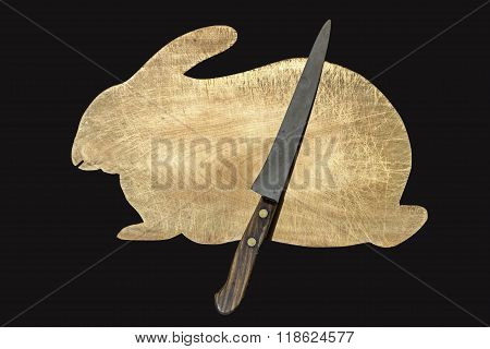 Rabbit Cutting Board and Knife