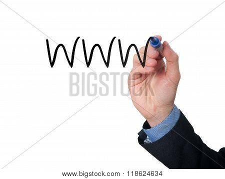 Businessman Writing Www On Virtual Screen With Black Marker