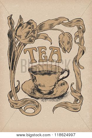 collection of graphic label. graphic symbol of tea. frame of tulips cup of tea. hand drawn. no trace. vector illustration