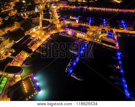 Aerial Night View Of Limassol Marina