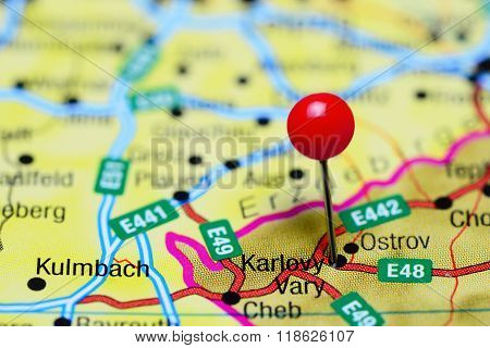 Karlovy Vary pinned on a map of Czech Republic