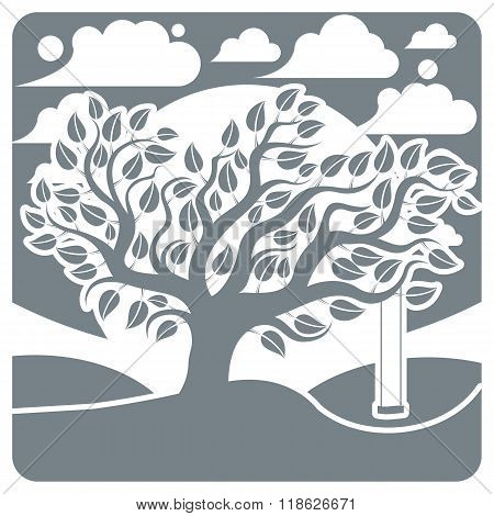 Vector Branchy Tree With Swing On Beautiful Cloudy Winter Landscape.  Idyllic And Peaceful Scene, In