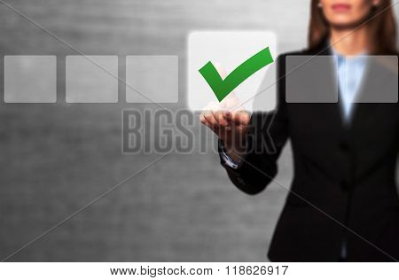 Businesswoman Touching Button And Ticking Check Box