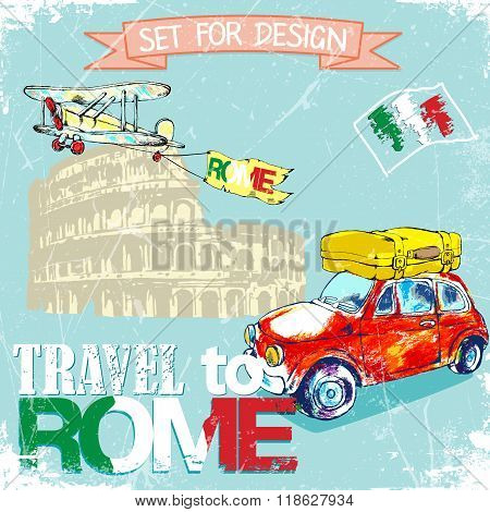 hand drawn color pencil funny red car. background trip to Rome.vector illustration