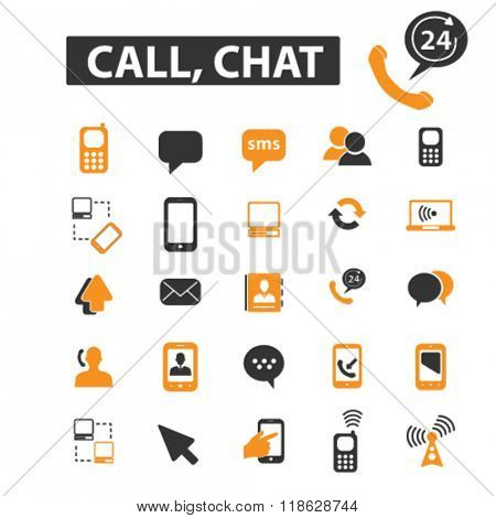 chat icons, chat logo, connect icons vector, connect flat illustration concept, connect infographics elements isolated on white background, connect  logo, connect symbols set, communication, phone