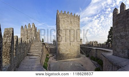 Guimaraes, Portugal - October, 2015: Guimaraes Castle interior, the most famous castle in Portugal as it was the birth place of the first Portuguese King and Portugal. Unesco World Heritage Site.