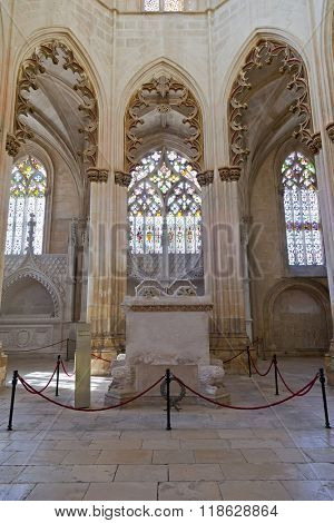 Batalha, Portugal - March, 2015: Batalha Monastery. Gothic Tombs of King Dom Joao I and Queen Dona Filipa de Lencastre in the Capela do Fundador - Founders Chapel. Portugal. UNESCO World Heritage Site