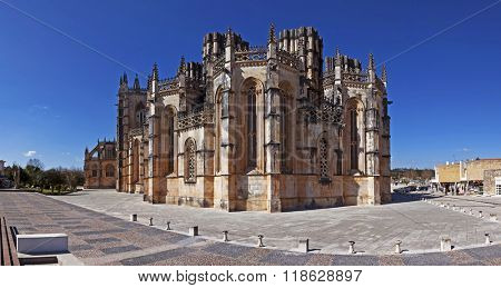 Monastery of Batalha, Portugal. View of the Capelas Imperfeitas (Unfinished Chapels). UNESCO World Heritage Site.