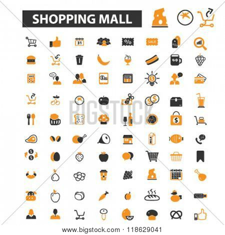 shopping mall icons, shopping mall logo, shop icons vector, shop flat illustration concept, shop infographics elements isolated on white background, shop logo, shop symbols set