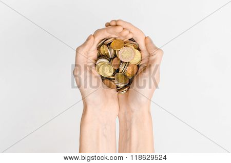 Money And Finance Topic: Money Coins And Human Hand Showing Gesture On A Gray Background In Studio T
