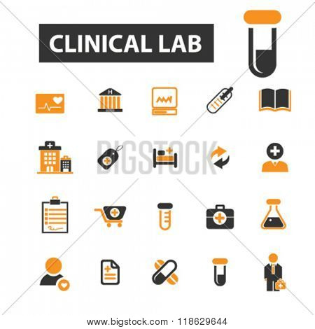 clinical lab icons, clinical lab logo, hospital icons vector, hospital flat illustration concept, hospital infographics elements isolated on white background, hospital  logo, hospital symbols set