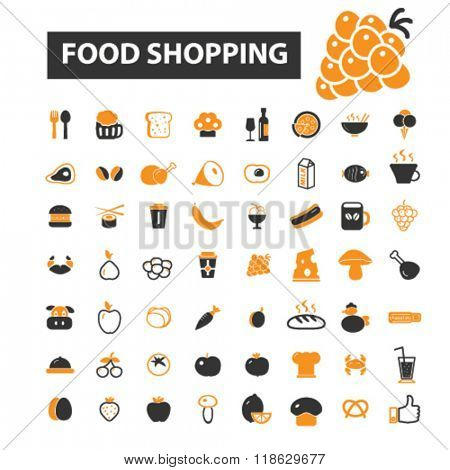 food shopping icons, food shopping logo, food icons vector, food flat illustration concept, food infographics elements isolated on white background, food logo, food symbols set, drinks, restaurant