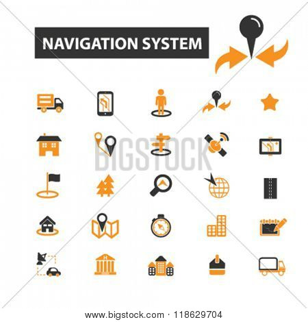 navigation icons, navigation logo, navigate icons vector, navigate flat illustration concept, navigate infographics elements isolated on white background, navigate logo, navigate symbols set, system