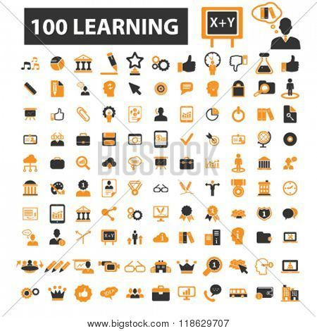 education icons, education logo, learning icons vector, learning flat illustration concept, learning infographics elements isolated on white background, learning logo, learning symbols set