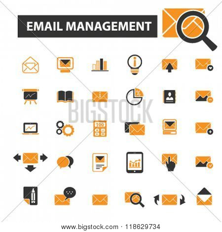 email management icons, email management logo, mail icons vector, mail flat illustration concept, mail infographics elements isolated on white background, mail logo, mail symbols set, post, letter
